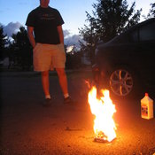 ... so they rest it on an old hard drive and burn the crap out of it in Tylerton's driveway.