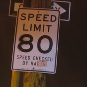 80. Speed checked by R.A. (or Ra)