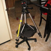 Tripod taped to a broken swivel-chair (we didn't even use this thing)