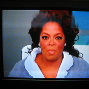 The built-in VCR came with a prerecorded episode of Oprah! Look at that foldback!