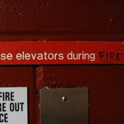 Do not use elevators during FIRE STORM!